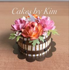 """Rustic Autumn Floral """"Wooden Barrel"""" Tea Light Cake (made by Kim) Tea Light Lanterns, Tea Light Candles, Tea Lights, Paper Gifts, Diy Paper, Paper Crafting, Recycled Paper Crafts, Light Cakes, Embossing Techniques"""