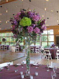 Purple spring centerpiece