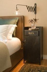 Love this scissor sconce, and the side table