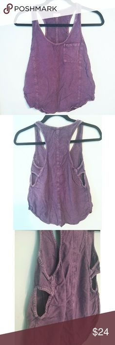 """Silence + Noise Pocket Racerback Tank EUC!  No stains/damage. This easygoing purple top features a distressed wash, rounded hem, and peekaboo sides. It's the perfect """"go to"""" tank, with just a little more edge than your basic racerback.  Fit is loose/comfy, but not oversized. TTS.   I do not trade or model, sorry! Urban Outfitters Tops Tank Tops"""