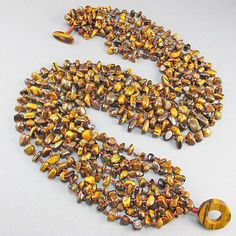 Vintage Seed Beads Necklace Tiger Eyes stone