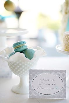 milk glass and french macaroons