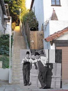 """Laurel and Hardy Stairs (Silverlake), b/w inset then; color now. Hollywood Classic: """"The Music Box"""" Laurel Et Hardy, Stan Laurel Oliver Hardy, Classic Comedy Movies, Classic Comedies, Classic Hollywood, Old Hollywood, Celebrity Yearbook Photos, Comedy Duos, Abbott And Costello"""