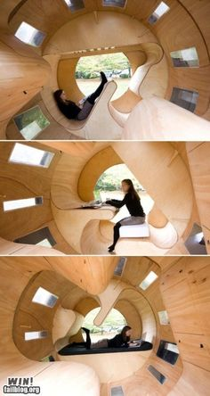 Rotating bedroom.  Is it a bed, a chair, or a desk?