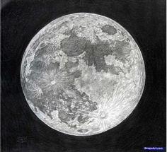How to draw the moon with a pencil in stages