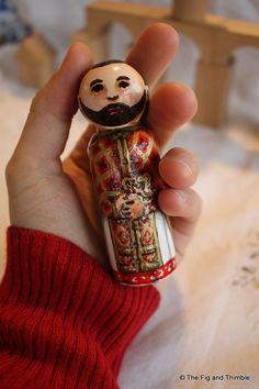 Priest Peg Doll Byzantine Priest Large 3.5 size