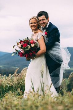 A Relaxed Floral Estate Wedding | Catherine Forge Photography | Anna Campbell Bride | Miranda Dress | Hand beaded | Shoulder and Back detail bridal gown | Bright pink wedding bouquet | Winery Wedding Styling | Vintage inspired wedding dress