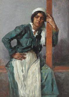 Gipsy Woman in the Veranda, 1920 - Nicolae Vermont Post Impressionism Art, Impressionist, Gustave Courbet, Art Database, Retro Art, Vermont, Aesthetic Art, Figure Drawing, Art Gallery