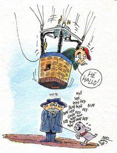 Zomaar een illustratie van een ballonvaarder en een man met een hond