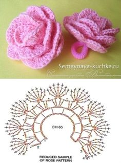 -A Collection of Crochet Rose Flowers [Free Patterns]. Crochet flowers are always a further addition to wearables, bags, home decorations. Crochet Flower Tutorial, Crochet Flower Patterns, Crochet Designs, Crochet Flowers, Knitting Patterns, Diy Crafts Crochet, Easy Crochet, Crochet Projects, Crochet Diagram