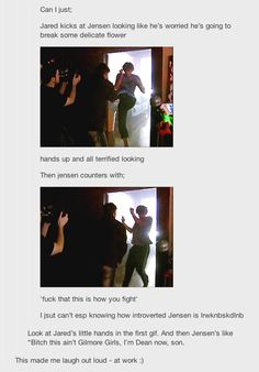 Filming 1x01 GIFset  This is further proof of how aware he is of his size, and how much he tries to not use it against people^.^