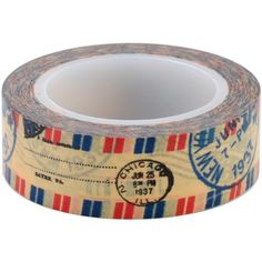 Old style airmail stripes and postmarks in reds, blues and blacks are over a krafty background. They will decorate paper, glass, plastic, and metal. This is removable and re-positionable tape Love My