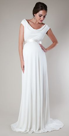 HGZ - I like the shape on this one, and maybe could be shortened?  Liberty Maternity Wedding Gown (Ivory) by Tiffany Rose