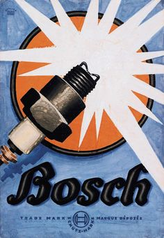 BOSCH SPARK PLUG Vintage Automobile Advertising Rolled CANVAS PRINT 24x36 in.