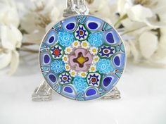 32mm Authentic Murano Glass Millefiori Pendant by DebDyerDesigns