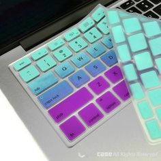 TopCase Faded Ombre Series Light Blue & Purple Silicone Keyboard Cover Skin for Macbook Unibody / Macbook Pro with or without Retina Display / New Macbook Air / Wireless Keyboard Macbook Accessories, Computer Accessories, Tech Accessories, Calcomanía Macbook, New Macbook Air, Diy Coque, Hot Blue, Apple Laptop, Keyboard Cover