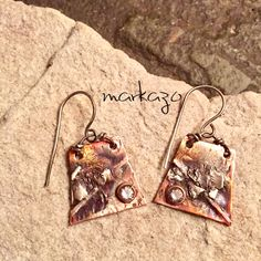 Artisan made earrings silver fusion reticulated over copper. Handmade Items, Handmade Jewelry, Silver Earrings, Drop Earrings, How To Make Earrings, I Love Jewelry, Artisan Jewelry, Earthy, Creative Ideas