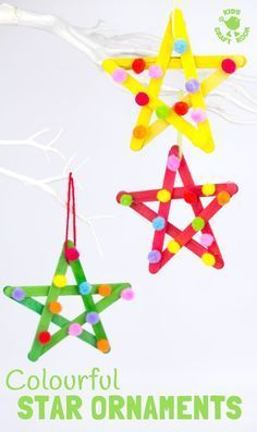 STAR ORNAMENTS These colourful pom pom popsicle stick stars wil. STAR ORNAMENTS These colourful pom pom popsicle stick stars will look amazing hanging on your Christmas tree or as a bright and cheery bedroom or nursery display all year round. Kids Christmas Ornaments, Preschool Christmas, Christmas Activities, Christmas Tree Decorations For Kids, Christmas Star, Christmas Crafts For Kids To Make At School, Childrens Christmas Crafts, Stick Christmas Tree, Christmas Displays