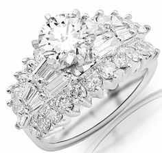 3.11 Carat IGI Certified 14K White Gold Exquisite Prong Set Bageutte And Round Diamond Engagement Ring