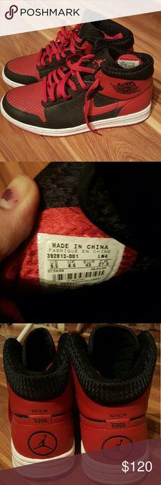 Red & Black Nike Air Jordans Fashionable pair of Nike Air Jordans.  Worn maybe once or twice. Reasonable offers considered. Nike Air jordan Shoes Sneakers