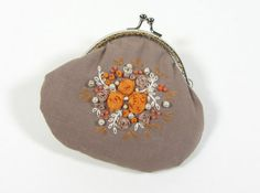 Hand embroidered  coin purse by JRsbags on Etsy, €25.00