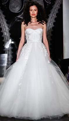 Reem Acra Spring 2014: Strapless tulle ballgown with hand-draped bodice