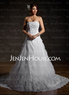 idea....Wedding Dresses - $216.29 - A-Line/Princess Strapless Chapel Train Organza  Satin Wedding Dresses With Lace  Beadwork (002011556) http://jenjenhouse.com/A-line-Princess-Strapless-Chapel-Train-Organza--Satin-Wedding-Dresses-With-Lace--Beadwork-002011556-g11556