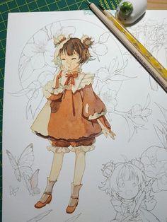 Anime Character Drawing, Manga Drawing, Character Art, Manga Watercolor, Watercolor Artwork, Anime Manga, Anime Art, Arte Do Kawaii, Anime Sketch