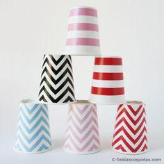 vasos carton chevron y rayas de venta en: http://shop.fiestascoquetas.com