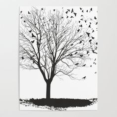 Ravens on a maple tree Poster by vladimirceresnak Maple Tree, Blank Walls, Diy Frame, Cool Diy, High Quality Images, Raven, Vibrant Colors, Smooth, Posters