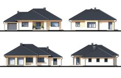 Project of a one-storey house with a garage. Modern Bungalow House Plans, Modern Family House, Bungalow Floor Plans, Modern House Design, Town House Plans, House Plans Mansion, House Roof, Balcony Grill Design, One Storey House