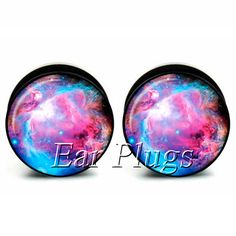 1 pair pink nebula acrylic screw ear plug gauges tunnel flesh tunnel body piercing jewelry PAP0169