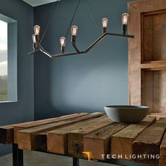 Dimmable with low-voltage electronic dimmer, Tech Lighting Akimbo Linear Pendant Light features jagged lines and asymmetrical shape. #TechLighting #LinearPendant Available at loftmodern.com  http://www.loftmodern.com/products/tech-lighting-akimbo-linear-pendant-light
