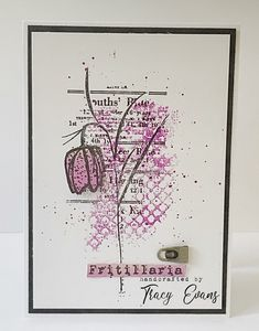 """Cleann and Simple card using Tracy Evans Border Stamp """"Fritillaria"""" and Stamp """"Overlapping Texture"""" Art Journal Pages, Art Journaling, Journal Ideas, Beautiful Handmade Cards, 8th Of March, Card Sketches, Flower Cards, Cardmaking, Book Art"""