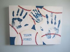 """Personalized Baseball Family Handprints with Print Kit, Canvas Art, 12x16"""" by SnowFlowerArts"""