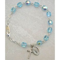 Catholic Silver Youth Childrens Girls Rosary Bracelet Birthstone Aqua Blue March Birthstone. Perfect for Christmas, Church, First Communion, Easter, Graduation, Sunday Dress, Easter or Birthday. >>> For more information, visit image link.