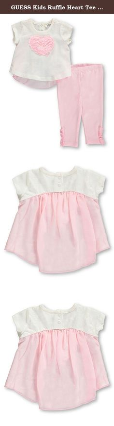 GUESS Kids Ruffle Heart Tee and Leggings Set ( 0-9m). A jersey dress with a heart at front and chiffon trim pairs with leggings in this stylish 2-piece outfit from Guess. Includes: Dress (100% Cotton; Trim 100% Polyester) Leggings (95% Cotton, 5% Spandex) Machine Wash Cold, Inside Out Imported.