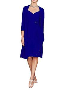 71996b0e4651 Prommay Womens Chiffon Crewneck Short Mother of the Bride Dress with Jacket  Size 16 Royal Blue    Click image to review more details.