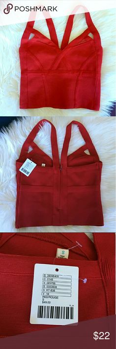 Urban Outfitters crop top NWOT Beautiful red crop top, never worn. I bought it on posh and it was too small so I'm reselling (pics are from original seller - the tag is no longer still on!). Says size S but fits more like XS or XXS Urban Outfitters Tops Crop Tops