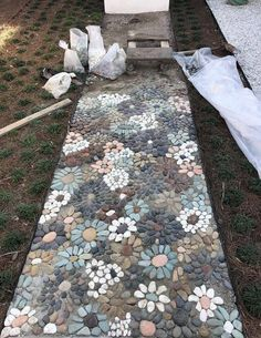 "44 Wonderful Diy Garden Mosaic Decorating Ideas – When you hear the phrase ""solar landscape lighting outdoors,"" what do you think of? Some people think that solar lights are a kind of … Stone Garden Paths, Garden Stones, Stone Pathways, Path Design, Landscape Design, Design Ideas, Desert Landscape, House Landscape, Home Design"