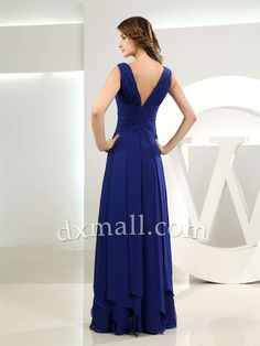 Empire Bridesmaid Dresses V-neck Ankle Length Satin Royal Blue 010010300126