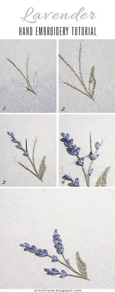Most up-to-date Screen Embroidery Designs inspiration Strategies Lavendel: gestickte Miniatur Stickerei Embroidery Flowers Pattern, Hand Embroidery Tutorial, Learn Embroidery, Hand Embroidery Stitches, Silk Ribbon Embroidery, Hand Embroidery Designs, Embroidery Techniques, Embroidery Art, Cross Stitch Embroidery