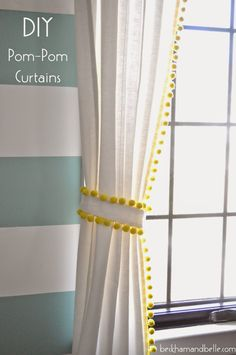 Beckham + Belle: DIY $15 Pom-Pom Trimmed Curtains