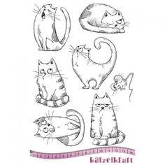 Katzelkraft Unmounted Rubber Stamp Set - Les Chats Russes - KTZ152