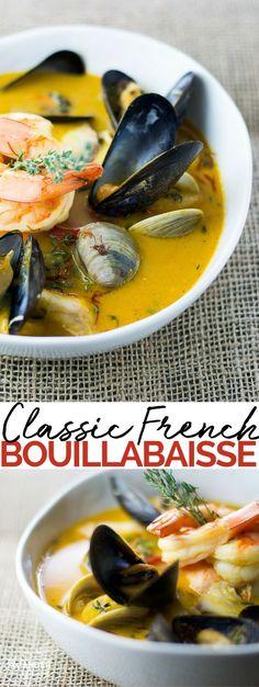 Classic Bouillabaisse - mussels   clams   shrimp   soup   broth   fish   salmon   saffron