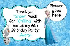 Frozen Birthday Party Thank You with Picture by HappyDotCreatives, $7.00