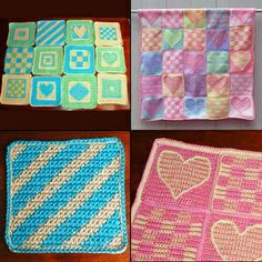 Afghan Square patterns listed by size - could also be used as dishcloths.
