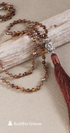 Elegant tassel necklace with smoky quartz, Tiger Eye and Buddha bead. Buddha Jewelry, Buddha Beads, Knot Necklace, Tassel Necklace, Tigers Eye Necklace, Eye Stone, Smoky Quartz, Wire Jewelry, Design Elements
