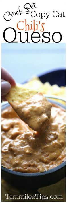 Crockpot Copy Cat Chilis Queso Cheese Dip Recipe perfect for Super Bowl Football Parties or any day of the week! So easy to make the slow cooker Crock Pot does all the work!