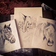 Made some decent head way with these three portraits today, only started the two a4 ones this morning!